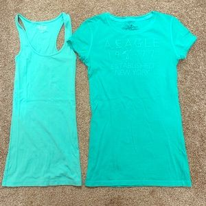 Tank top AND t-shirt pair - teal blue